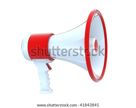 3d megaphone isolated on white background