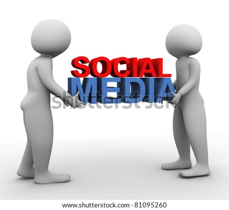 3d men carrying text 'social media' - stock photo
