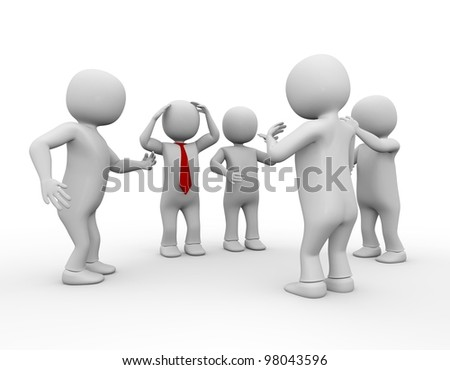 3d men discussion on white isolated background - stock photo