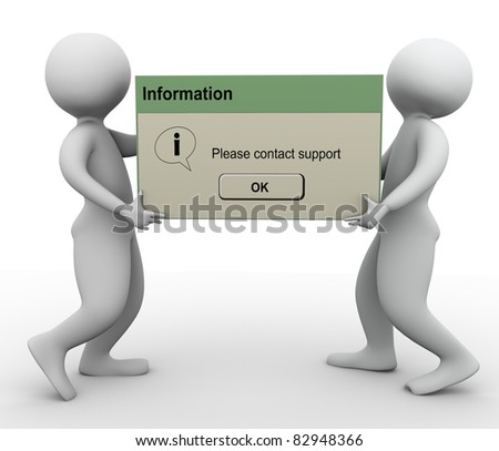 3d men holding contact support message box