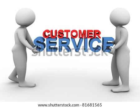 3d men holding text 'customer service' - stock photo