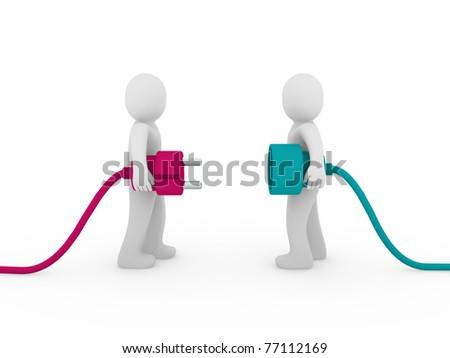 3d men human plug pink green cable energy - stock photo