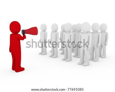 3d men man megaphone team red business scream - stock photo