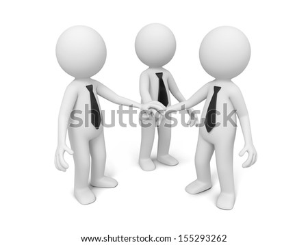 3d men, people together ,business team  joining hands