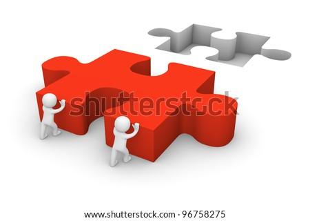 3d men pushing puzzle piece - stock photo