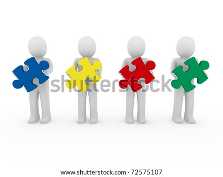 3d men puzzle teamwork red blue green yellow - stock photo