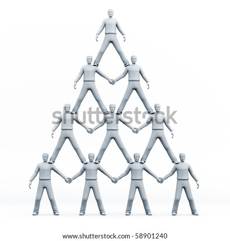 3D men pyramid isolated over a white background - stock photo