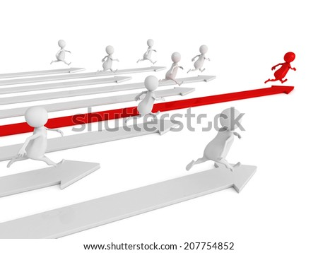 3d men running. competition human race concept 3d render illustration - stock photo