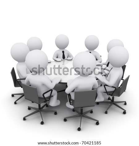 3D men sitting at a round table and having business meeting - stock photo