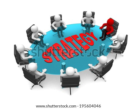 3D men sitting at a round table and having business meeting - 3d render illustration  - stock photo
