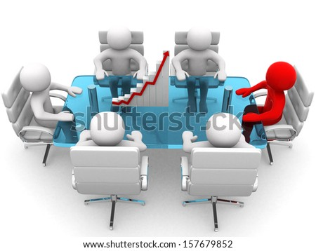 3D men sitting at a table and having business meeting - 3d render - stock photo