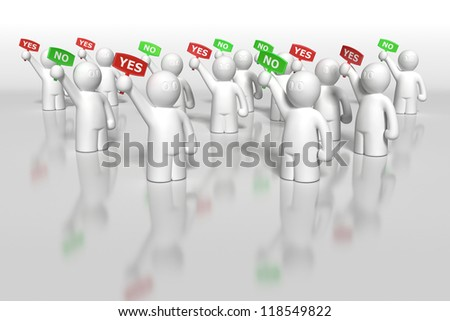 3d men voting with yes and now tablets background - stock photo