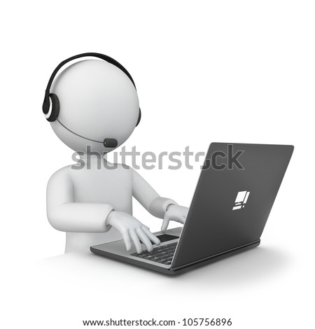 3d men with laptop. - stock photo