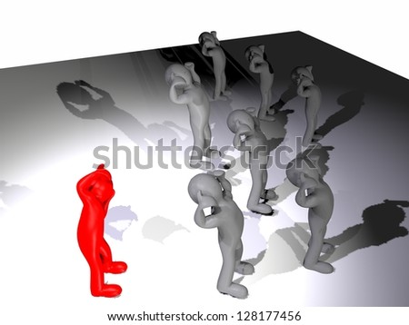3d mens .The team solves the problem. - stock photo