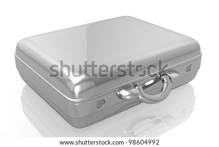 3d metal briefcase on white background