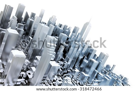3D metal city - stock photo