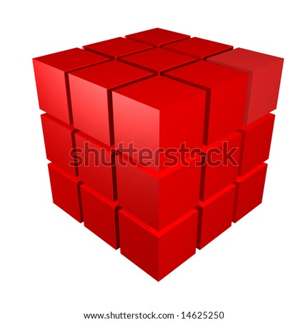 3d metal cubes in red and isolated on a white background - stock photo