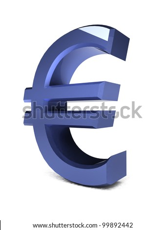 3d metal euro symbol isolated on white background