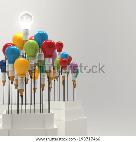 3d metal human brain in a light bulb as creative concept - stock photo