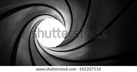 3d metal inside gun barrel twisted tube focus - stock photo