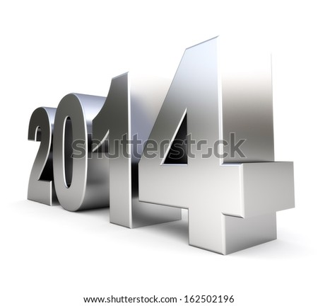 3d metal new year 2014 - stock photo