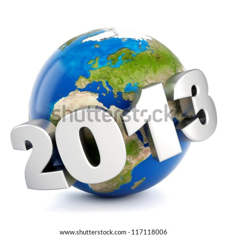 3d metal number 2013 around earth - new year concept - stock photo