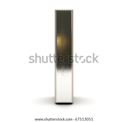 3D Metal number isolated - stock photo