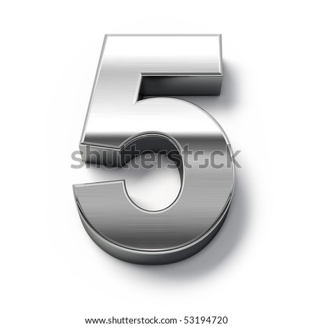 3d Metal numbers - number 5 - stock photo
