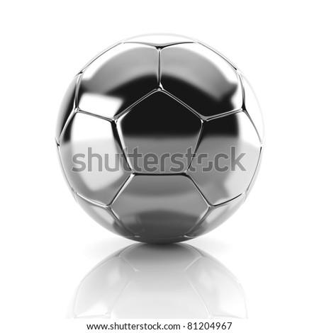 3d metal soccer ball - stock photo