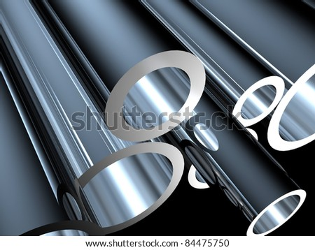 3D metal tubes - high technology background. - stock photo