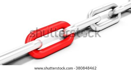3d metallic chain links on white background - stock photo