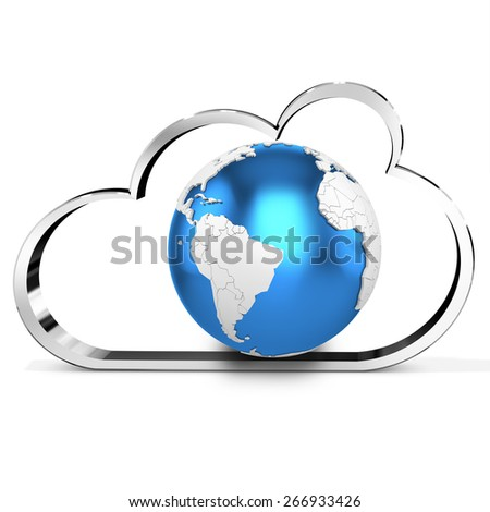 3d metallic cloud with earth globe  isolated on white background