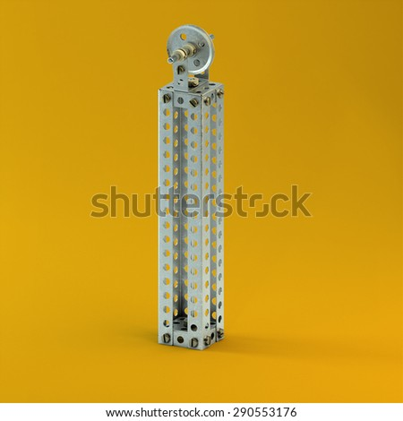 3d metallic constructor  font  letter I - stock photo