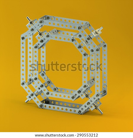 3d metallic constructor  font  letter O - stock photo