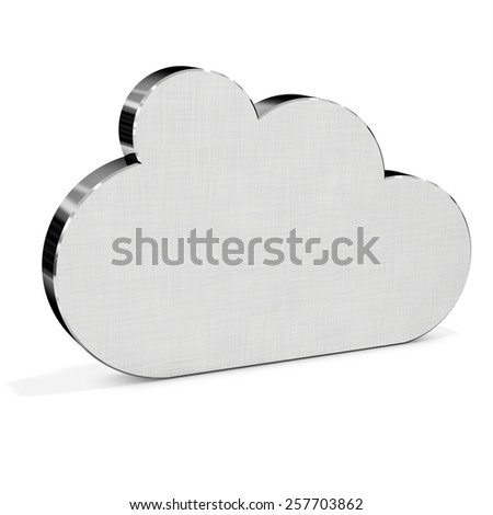 3d metallic silver Cloud on white background - stock photo