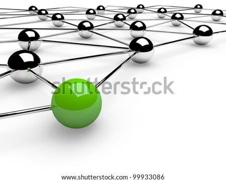 3d metaphor of network communication - stock photo