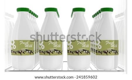 3D milk bottles on refrigerator shelve - stock photo