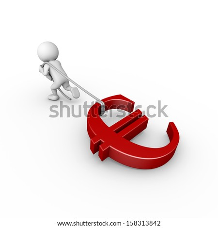3d minimalistic person - pulling euro symbol with a rope