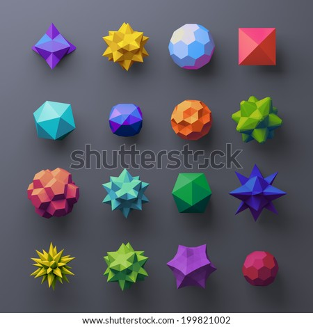 3d mixed geometrical complex faceted shapes, colorful objects - stock photo