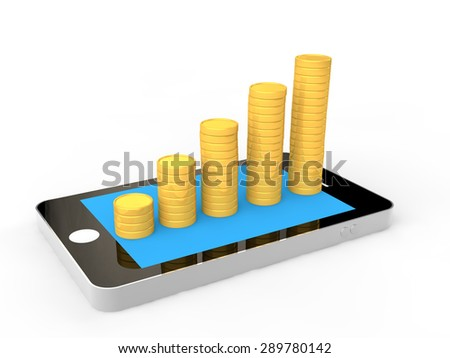 3D mobile phone and coins stacks - stock photo