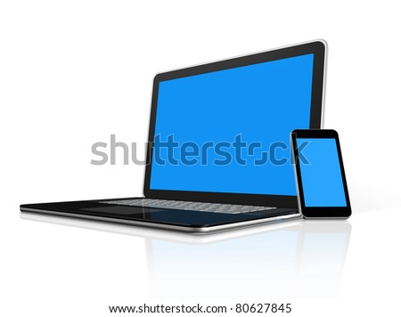 3D mobile phone on a laptop - isolated on white with clipping path - stock photo
