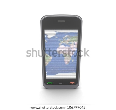 3d mobile phone on white background - stock photo