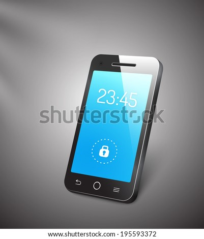 3d mobile phone or smartphone with a blue screen showing the time and a locked symbol with a reflective surface standing upright angled on a grey background - stock photo