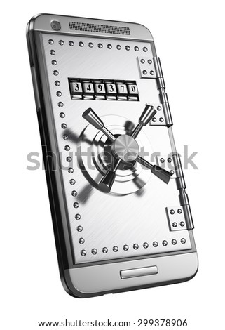 3d mobile with safe door and access password. Security concept. Isolated white background. - stock photo