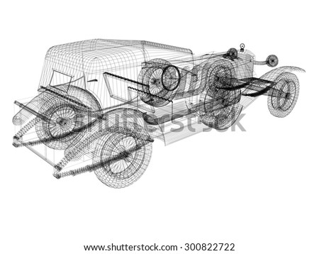 3d model car - stock photo