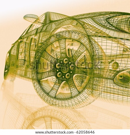 3d model cars - stock photo