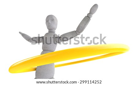 3d model doll turns shiny yellow band at the waist. Arms spread wide. Side view - stock photo