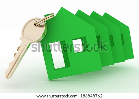 3d model ecological house symbol and key - stock photo
