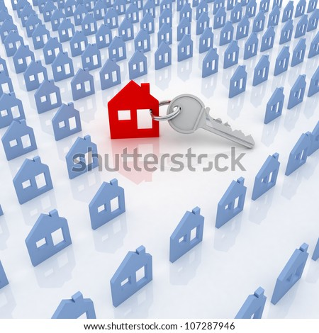 3d model house symbol set - stock photo
