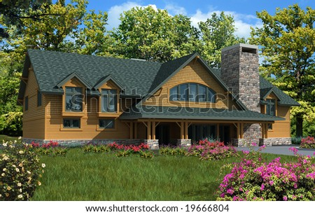 3d Model House with orange siding and green roof, photo-matched in landscaped foreground - stock photo